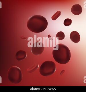 Realistic vector illustration red blood cell. Scientific concept. Red blood cells in vein - Stock Photo