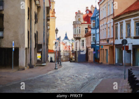 Painting on canvas of empty main tourist street in capital of Lithuania - Vilnius - Stock Photo