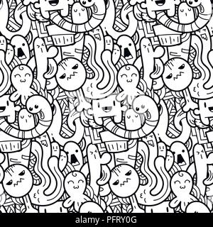 Funny doodle monsters seamless pattern for prints, designs and coloring books. Black and white lined vector illustration - Stock Photo