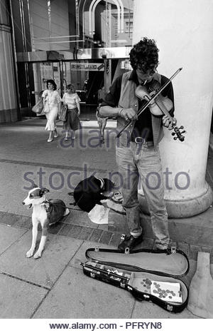 A busker plays a tune on his violin outside a shopping centre in Cheltenham, while his two mongrel dogs snooze and stretch. His violin case is open and there some coins in it - Stock Photo