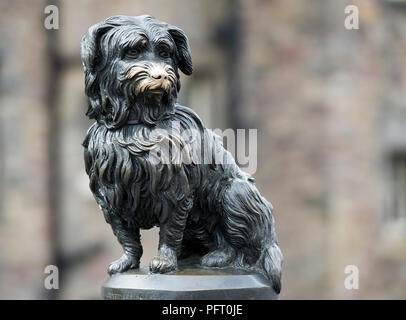Greyfriars Bobby statue on George IV Bridge, Edinburgh, Scotland - Stock Photo