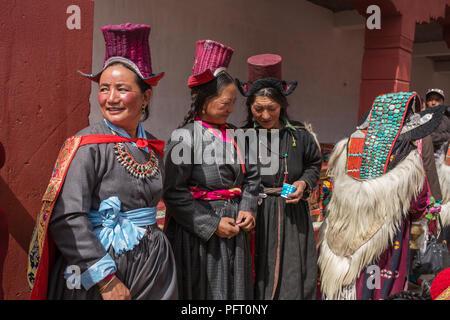 Lamayuru, India - June 19, 2017: Unidentified Ladakhi women wearing ethnic traditional costumes in Ladakh, India - Stock Photo