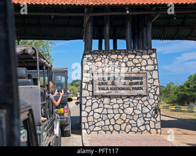 Horizontal view of the entrance gate at Yala National Park, Sri Lanka. - Stock Photo