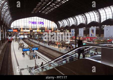 December 2017 - view of central railway station in Hamburg, Germany - Stock Photo