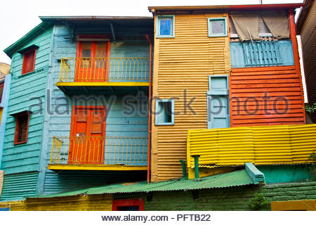 South America, colourful painted houses lining El Caminito, street in La Boca district, Buenos Aires, Argentina - Stock Photo