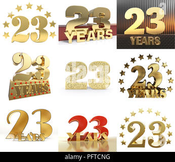 Set of number twenty three year (23 year) celebration design. Anniversary golden number template elements for your birthday party. 3D illustration. - Stock Photo