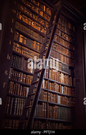 DUBLIN, IRELAND -  JULY 14, 2018: The Long Room in the Trinity College Library on July 14, 2018 in Dublin, Ireland. - Stock Photo