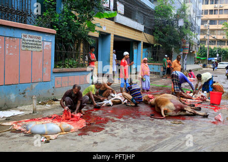 Bangladeshi Muslims slaughter their livestock on the road in Dhaka, the capital city of Bangladesh, on the first day of Eid- Ul-Azha. Dhaka, Banglades - Stock Photo