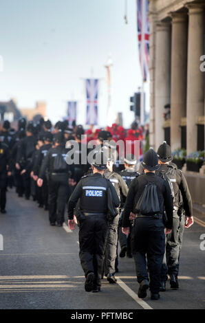 British police deployed in Windsor on the day of the wedding of Prince Harry & Meghan Markle - Stock Photo