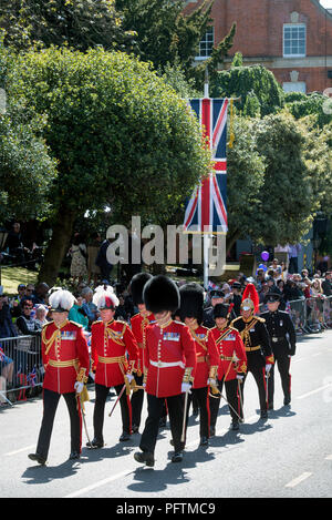 Representatives of divisions of Guards in Windsor on the day of the wedding of Prince Harry & Meghan Markle with royal fans lining the High Street - Stock Photo