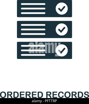 Ordered Records icon. Monochrome style design from crypto currency collection. UI. Pixel perfect simple pictogram ordered records icon. Web design, ap - Stock Photo