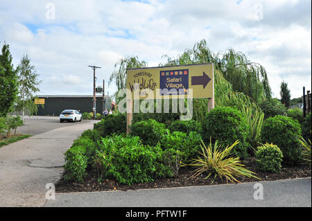 The entrance to the Yorkshire Wildlife Park, Doncaster, South Yorkshire UK. The park has hundreds of animals and species and is open daily. - Stock Photo