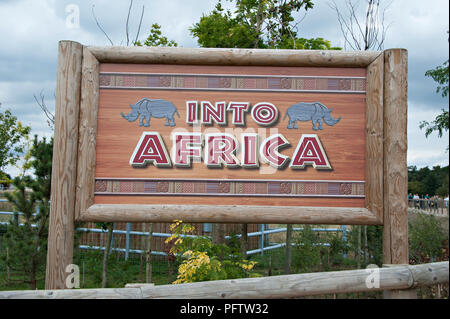 Into Africa is the entrance notice board to the rhino compound and other african animals at the Yorkshire Wildlife Park, Doncaster, South Yorkshire UK - Stock Photo