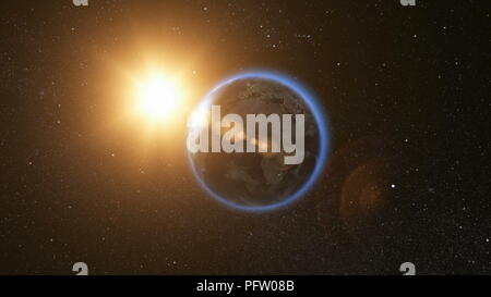 Space view on Planet Earth and Sun Star rotating on its axis in black Universe. Seamless loop with day and night city lights change. Astronomy and science concept. Elements of image furnished by NASA - Stock Photo