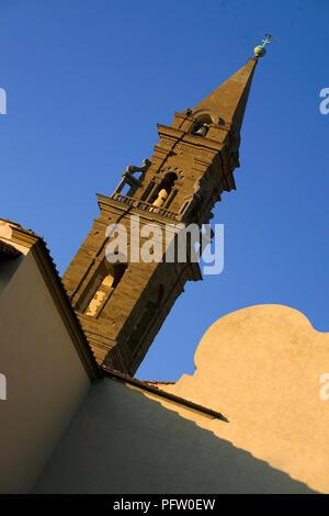 Steeple of the Basilica of Santa Maria del Santo Spirito, Oltrarno, Florence, Tuscany, Italy