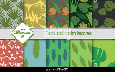 Vector hand drawing set of tropical backgrounds. Palm leaves samples. Postcards, certificates, letterheads, greeting cards, fabrics, wallpaper - Stock Photo