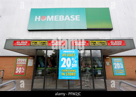 General view of a Homebase store in Exeter which is closing down. Homebase is a DIY/ Garden Centre and was bought by the Austrailian conglomerate Wesf - Stock Photo