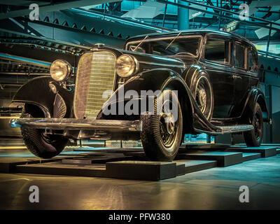 RIGA, LATVIA-APRIL 18, 2018: 1934 Lincoln V12 Series 277B Model KB in the Riga Motor Museum. - Stock Photo