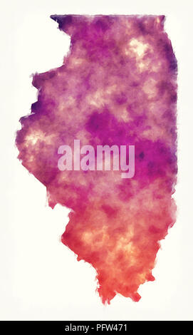 Illinois state USA watercolor map in front of a white background - Stock Photo