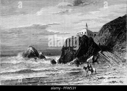 Black and white vintage print depicting a pair of horses and riders standing on a beach next to the ocean with the Cliff House hotel (currently a restaurant) in the background, located in San Francisco, California, published in William Cullen Bryant's edited volume 'Picturesque America; or, The Land We Live In', 1872. Courtesy Internet Archive. () - Stock Photo
