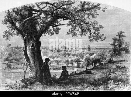 Black and white vintage print depicting a pair of children near a tree on Federal Hill in the foreground, with a panoramic view of a town and Lake Erie in the background, likely located in Erie, Pennsylvania, published in William Cullen Bryant's edited volume 'Picturesque America; or, The Land We Live In', 1872. Courtesy Internet Archive. () - Stock Photo