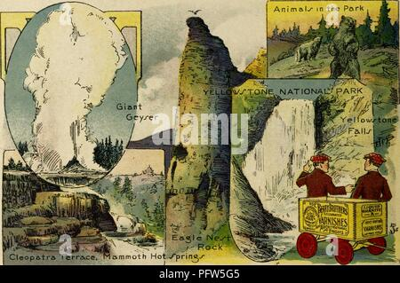 Color illustration depicting several images of Yellowstone National Park, including the 'Giant Geyser, ' 'Cleopatra Terrace, ' 'Mammoth Hot Springs, ' 'Eagle Nest Rock, ' 'Yellowstone Falls' and 'Animals in the Park, ' along with an image of the eponymous characters, wearing red check-print caps, and standing next to a wagon advertising 'Berry Brothers Varnishes, ' from the children's volume 'Seeing America First: with the Berry Brothers, ' authored by Eleanor Colby, and illustrated by FW Pfeiffer, 1917. Courtesy Internet Archive. () - Stock Photo