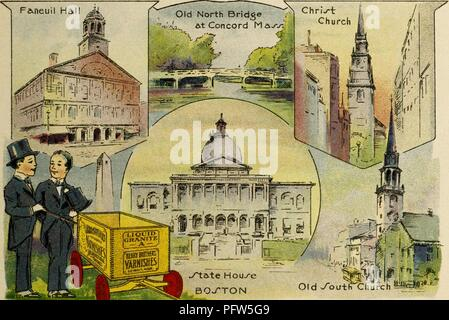 Color illustration depicting several images of Boston and Concord, Massachusetts, including 'Faneuil Hall, ' 'Old North Bridge at Concord Mass, ' 'Christ Church, ' 'Old South Church, ' and Boston's 'State House, ' along with the eponymous characters, wearing black tails and top hats, standing near a wagon advertising 'Berry Brothers Varnishes, ' from the children's volume 'Seeing America First: with the Berry Brothers, ' authored by Eleanor Colby, and illustrated by FW Pfeiffer, 1917. Courtesy Internet Archive. () - Stock Photo