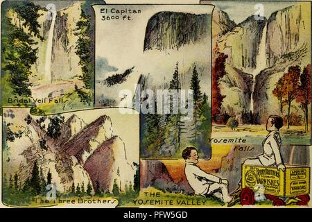 Color illustration depicting several images of the Yosemite Valley, including 'Bridal Veil Falls, ' 'The Three Brothers, ' 'El Capitan, ' and 'Yosemite Falls, ' along with an image of the eponymous characters, wearing white suits and reclining near a wagon advertising 'Berry Brothers Varnishes, ' from the children's volume 'Seeing America First: with the Berry Brothers, ' authored by Eleanor Colby, and illustrated by FW Pfeiffer, 1917. Courtesy Internet Archive. () - Stock Photo