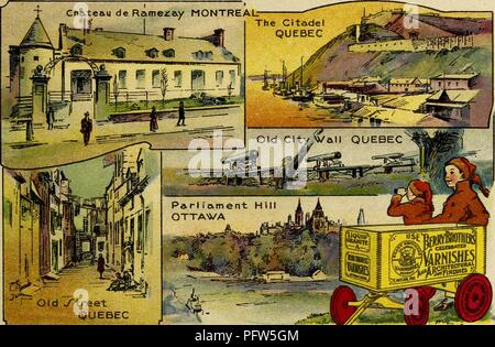 Color illustration depicting several images of Canada, including Quebec's 'Citadel' and 'Old City Wall, ' Montreal's 'Chateau de Ramezay, ' and Ottawa's 'Parliament Hill, ' along with the eponymous characters, wearing winter hats and reclining near a wagon advertising 'Berry Brothers Varnishes, ' from the children's volume 'Seeing America First: with the Berry Brothers, ' authored by Eleanor Colby, and illustrated by FW Pfeiffer, 1917. Courtesy Internet Archive. () - Stock Photo