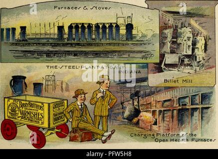 Color illustration depicting several images of 'The Steel Plant at Gary Indiana, ' including the 'Furnaces and Stoves, ' the 'Billet Mill, ' and the 'Charging Platform of the Open Hearth Furnace, ' along with the eponymous characters, wearing striped suits and standing near a wagon advertising 'Berry Brothers Varnishes, ' from the children's volume 'Seeing America First: with the Berry Brothers, ' authored by Eleanor Colby, and illustrated by FW Pfeiffer, 1917. Courtesy Internet Archive. () - Stock Photo