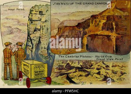 Color illustration depicting several images of 'The Grand Canyon, ' including 'Hopi Point, ' and 'The Cambrian Plateau - North from Grandview Point, ' along with the eponymous characters, wearing checked suits and caps, and standing near a wagon advertising 'Berry Brothers Varnishes, ' from the children's volume 'Seeing America First: with the Berry Brothers, ' authored by Eleanor Colby, and illustrated by FW Pfeiffer, 1917. Courtesy Internet Archive. () - Stock Photo