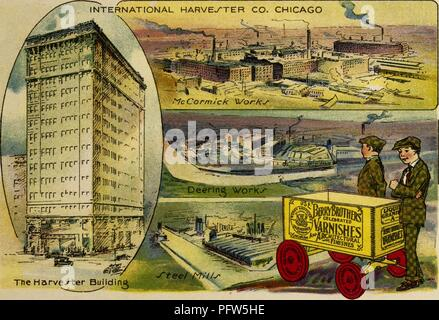 Color illustration depicting several images of Chicago's 'International Harvester Co' agricultural manufacturing conglomerate, with an close-up of the 'Harvester Building, ' and views of the 'McCormick Works, ' the 'Deering Works, ' and the 'Steel Mills, ' along with an image of the eponymous characters, wearing check-print suits and caps, and standing next to a wagon advertising 'Berry Brothers Varnishes, ' from the children's volume 'Seeing America First: with the Berry Brothers, ' authored by Eleanor Colby, and illustrated by FW Pfeiffer, 1917. Courtesy Internet Archive. () - Stock Photo