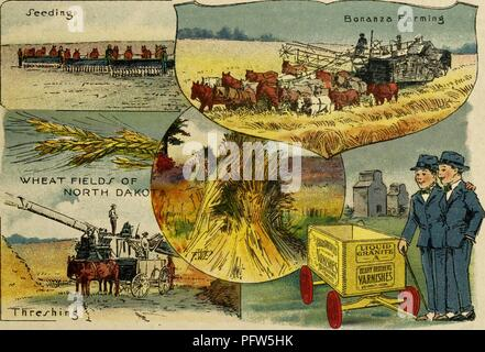 Color illustration depicting several images of farming in the 'Wheat Fields of North Dakota, ' including 'Seeding, ' 'Bonanza Farming, ' and 'Threshing, ' along with an image of the eponymous characters, wearing blue suits and fedora hats, standing next to a wagon advertising 'Berry Brothers Varnishes, ' from the children's volume 'Seeing America First: with the Berry Brothers, ' authored by Eleanor Colby, and illustrated by FW Pfeiffer, 1917. Courtesy Internet Archive. () - Stock Photo
