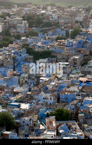 View of the blue city in Jodhpur, Rajasthan, India - Stock Photo