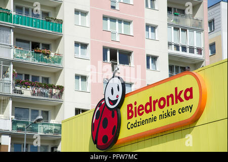 Biedronka (ladybug) owned by Portuguese company Jeronimo Martins is the largest chain of no frills supermarkets in Poland. Gdansk, Poland August 12th  - Stock Photo