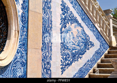 Historic blue and white tiles at an italian inspired outdoor palace staircase - Stock Photo