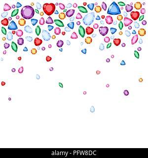 Set of realistic jewels. Colorful gemstones. Raster gemstone Illustration on white background - Stock Photo