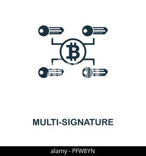 Multi-Signature icon. Monochrome style design from crypto currency collection. UI. Pixel perfect simple pictogram multi-signature icon. Web design, ap - Stock Photo