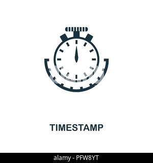 Timestamp icon. Monochrome style design from crypto currency collection. UI. Pixel perfect simple pictogram timestamp icon. Web design, apps, software - Stock Photo