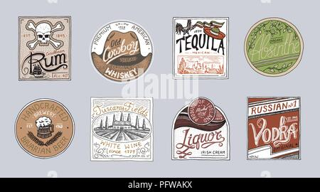 Vintage American badge. Absinthe Tequila Vodka Liqueur Rum Wine Strong whiskey Beer. Alcohol Label with calligraphic elements. Frame for poster banner - Stock Photo