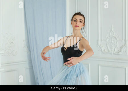 Young classical Ballet dancer side view. Beautiful graceful ballerine practice ballet positions in tutu skirt near large mirror in white light hall. B - Stock Photo