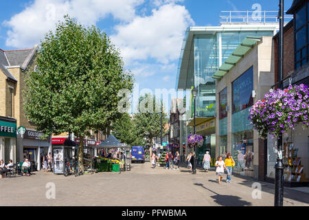 Pedestrianised High Street, Staines-upon-Thames, Surrey, England, United Kingdom - Stock Photo