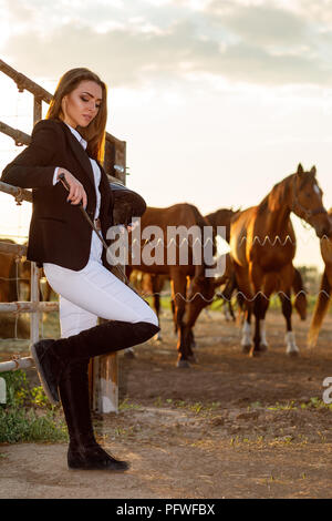 beautiful rider woman with whip stands against the backdrop of horses at sunset. soft light - Stock Photo