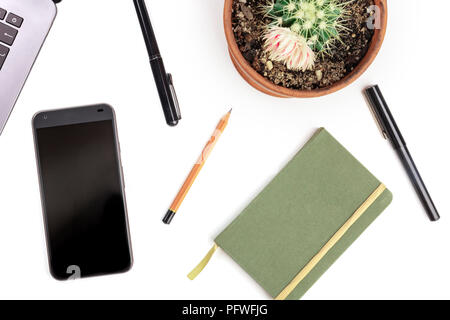 An overhead photo of a phone with stationery, flat lay on a white background, a mockup - Stock Photo