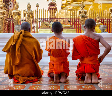 Monks in Wat Phra That Doi Suthep, Chiang Mai, Thailand - Stock Photo