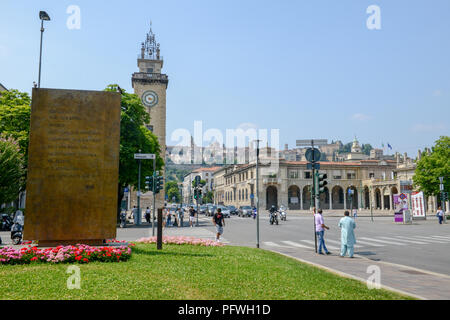 Bergamo, Italy - 3 July 2018: view at the old town of Bergamo located on the top of the hill, Italy - Stock Photo