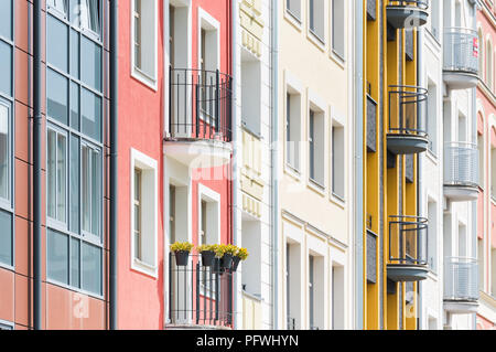 Beautiful old town apartments in the city of Elblag , Poland . - Stock Photo