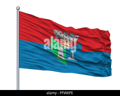 Toa Alta City Flag On Flagpole, Puerto Rico, Isolated On White Background - Stock Photo