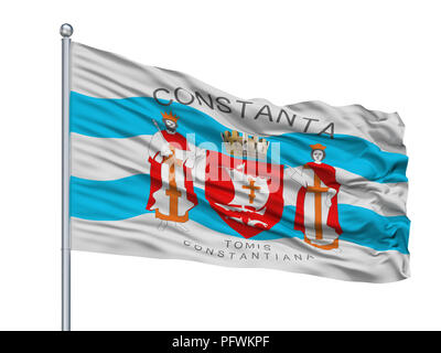 Toa Baja City Flag On Flagpole, Puerto Rico, Isolated On White Background - Stock Photo