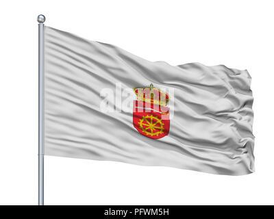 Murska Sobota City Flag On Flagpole, Slovenia, Isolated On White Background - Stock Photo